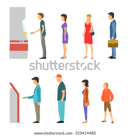 Banking payment vector flat infographic. Line of men and women at ATM and terminal. Bank financial cash, withdrawal money salary illustration - stock vector