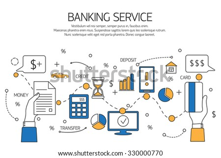 Banking service outline concept,  deposit, credit, money transfer. Vector illustration. - stock vector