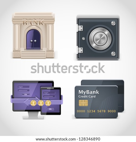 banking vector icons - stock vector