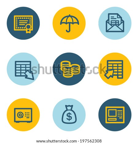 Banking web icons, blue and yellow circle buttons - stock vector