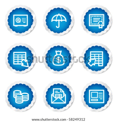 Banking web icons, blue stickers series - stock vector