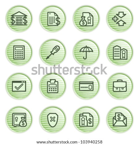 Banking web icons. Green series. - stock vector