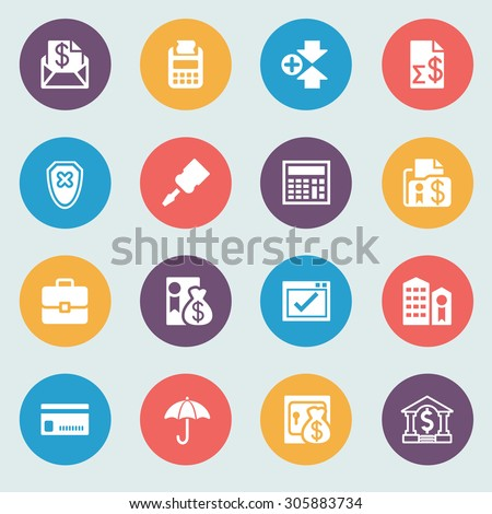 Banking white icons on color buttons. Flat design. - stock vector