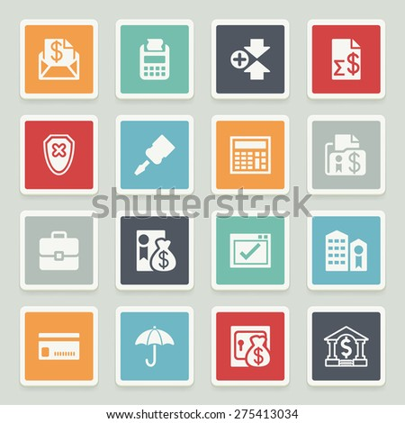 Banking white icons with buttons on gray background. - stock vector