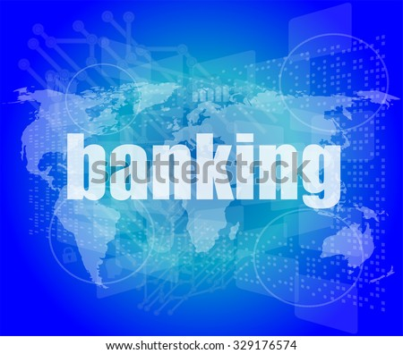 banking word on touch screen, modern virtual technology background vector illustration - stock vector