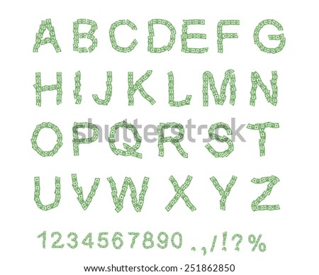 Banknote alphabet. Money font. Letter from dollar. Alphabet of money. The font of dollars. Vector illustration