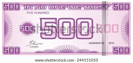 banknote five hundred - stock vector
