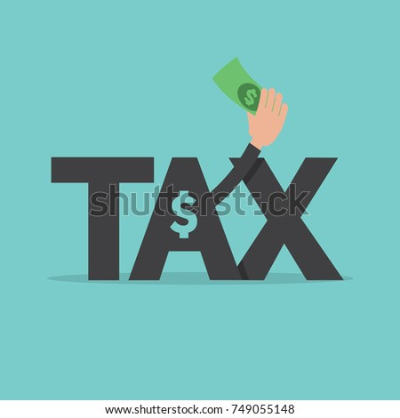 Banknote In Hand. Tax Management Successful Concept Vector Illustration.