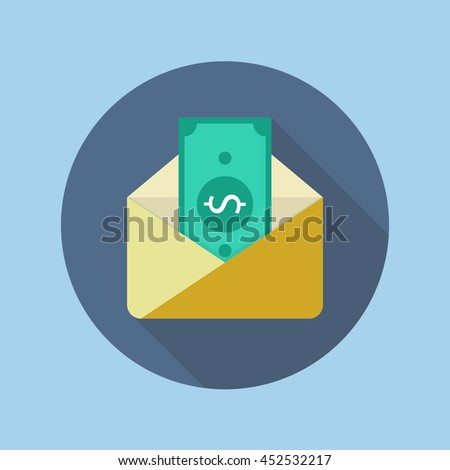 Banknote in yellow paper envelope. Flat icon with long shadow