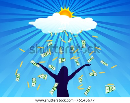 Banknotes and coins fall from cloud on outstretched hands of girls - stock vector