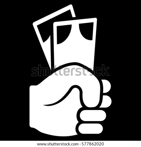 Banknotes Salary Hand Vector Icon Flat Stock Vector ...