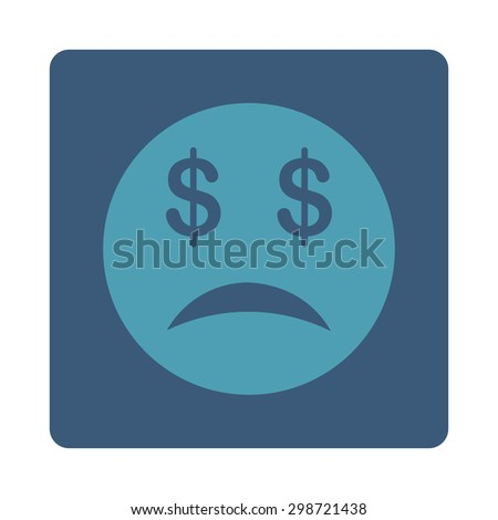 Bankrupt Smiley icon from Commerce Buttons OverColor Set. Vector style is cyan and blue colors, flat square rounded button, white background.