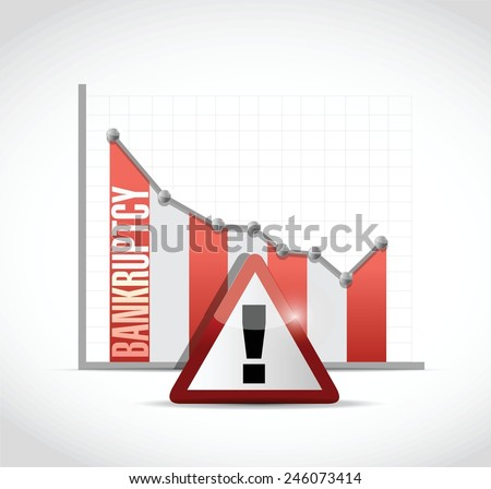 bankruptcy falling graph illustration design over a white background - stock vector