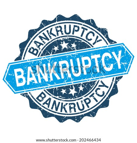 Bankruptcy grungy stamp isolated on white background - stock vector