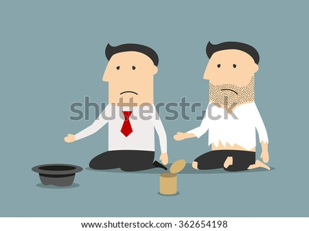 Bankruptcy, jobless, poverty or financial crisis theme. Cartoon jobless bankrupt businessman and pauper begging for money, job or food  - stock vector