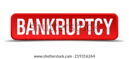 bankruptcy red three-dimensional square button isolated on white background - stock vector