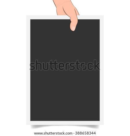 Banner advertising and posters. hands holding paper isolated on white. Hand holding blank paper, vector - stock vector
