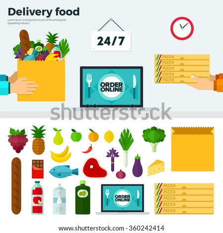 Banner and icons of symbols: courier hands stretch pizza boxes and bag with vegetables. Text on screen Delivery food. Vector flat illustrations for website, mobile, banners, brochures, covers, layout - stock vector