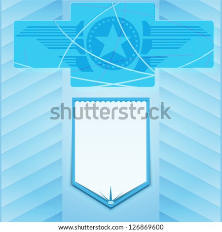 banner and star on blue background - stock vector