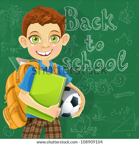 Banner Back to school - boy with backpack at the board ready to learn - stock vector