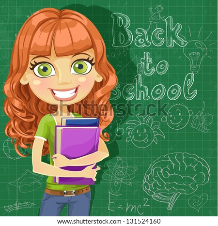Banner Back to school - cute teenager girl at the blackboard