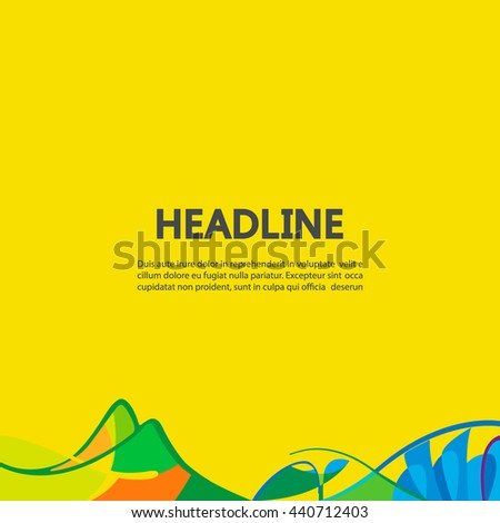 Banner background in colors of Brazil flag. Three color concept. Can be used in cover design, book design, website background, CD cover, advertising. Summer olympic games 2016. RIO. Parolympic