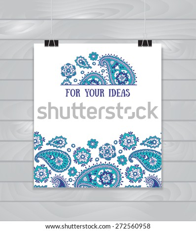 Banner based on traditional Asian elements Paisley on the wood background - stock vector