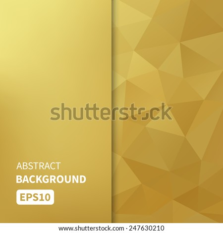 Banner design. Abstract template background with gold triangle shapes. Vector illustration EPS10 - stock vector