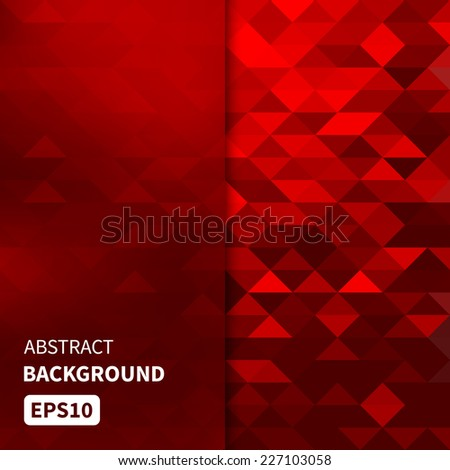 Banner design. Abstract template background with red triangle shapes. Vector illustration EPS10 - stock vector