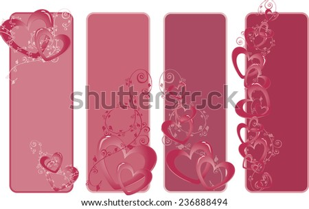 Banner design with heart shapes and space for text - stock vector