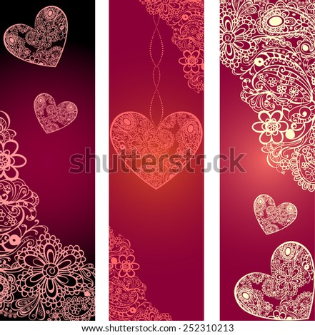 Banner design with heart shapes and space for text