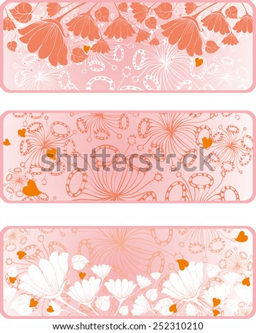 Banner design with heart shapes, flowers and space for text - stock vector