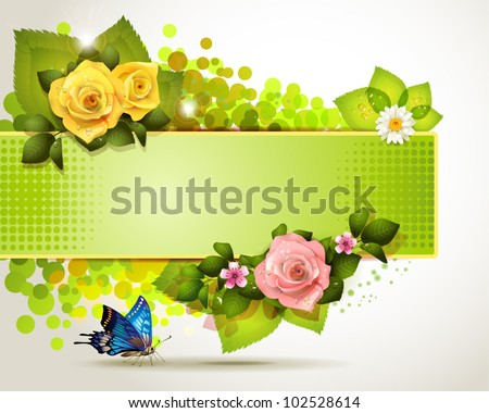 Banner design with leaf, flowers and butterfly - stock vector
