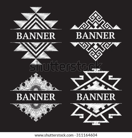 Banner doodle Tribal pattern. Geometric Vector design - stock vector