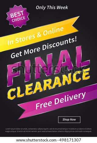 Banner Final Clearance vertical vector illustration on black background. Final Clearance creative concept with sample text for online shop, retail store, advertising, poster, banner.