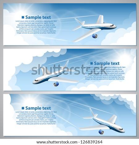 banner flights - stock vector