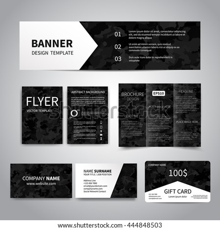 Banner flyers brochure business cards gift stock vector 444848503 banner flyers brochure business cards gift card design templates set with black colourmoves