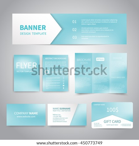 Banner flyers brochure business cards gift stock vector 450773749 banner flyers brochure business cards gift card design templates set with blue colourmoves
