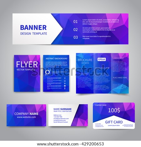 Banner flyers brochure business cards gift stock vector hd royalty banner flyers brochure business cards gift card design templates set with geometric reheart Images
