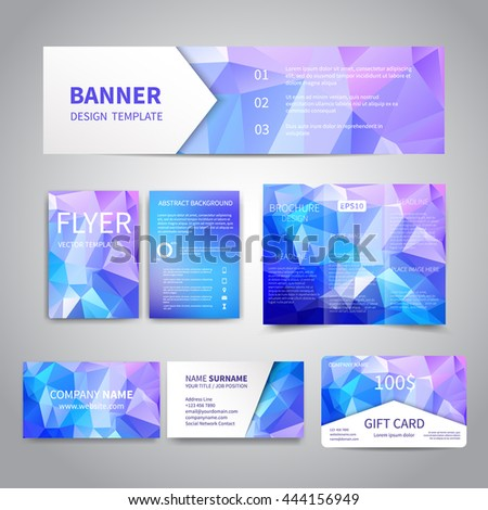 Banner flyers brochure business cards gift stock vector 444156949 banner flyers brochure business cards gift card design templates set with geometric colourmoves Image collections