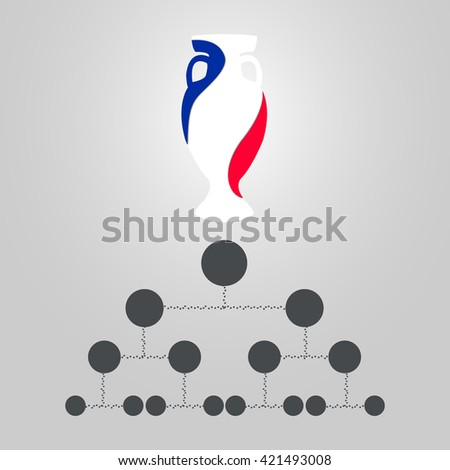 Banner for Euro 2016 World FIFA championship. Euro 2016 France participant. Football competition. Flyer, template, brochure design. Official vector euro cup. Trophy for the first place winner - stock vector