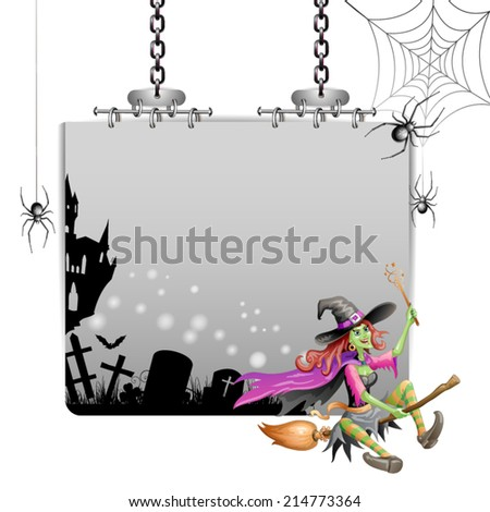 Banner for Halloween with witch flying in broom  - stock vector