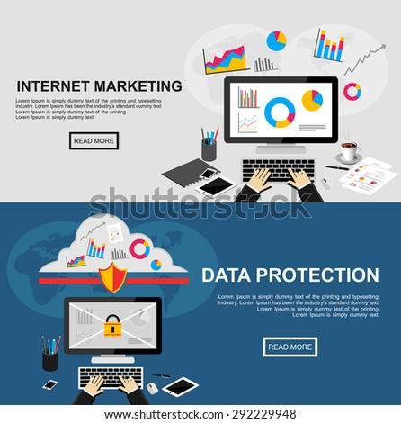 Banner for internet marketing and data protection. Flat design illustration concepts for finance, business, statistics, analysis, marketing, data protection, data security, internet security. - stock vector