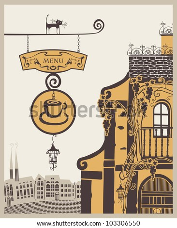 banner for menu to old cafe in city - stock vector