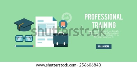 banner for professional training, flat vector illustration - stock vector