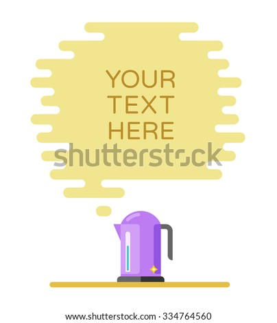 Banner for recipes, menus or other content. Cloud of steam and electric kettle - stock vector