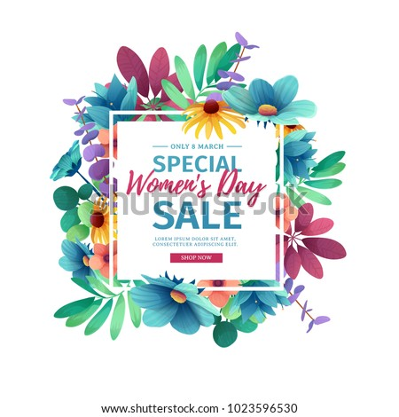 Banner for sale International  Happy Women's Day on flower background. Flyer for March 8 with the decor of floral. Invitations with square frame and flower for offer and discount. Vector.