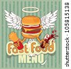 banner for the fast-food cheeseburger with the wings - stock vector