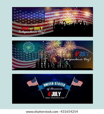 banner fourth of july - stock vector