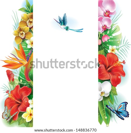 Banner from tropical flowers and leaves - stock vector